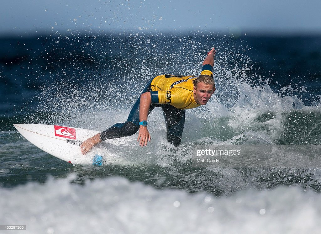Connor Griffiths from Swansea competes in a heat of the UK Pro Surf Association's Men's Open on Fistral Beach on the second day of the Boardmasters surf and music festival in Newquay on August 7, 2014 in Cornwall, England. Since 1981, Newquay has been playing host to the Boardmasters surfing competition - which is part of a larger five-day surf, skate and music festival and has become a integral part of the continually popular British surf scene growing from humble beginnings, to one of the biggest events on the British surfing calendar. It now attracts professional surfers from across the globe to compete on the Cornish beach that is seen by many as the birthplace of modern British surfing.