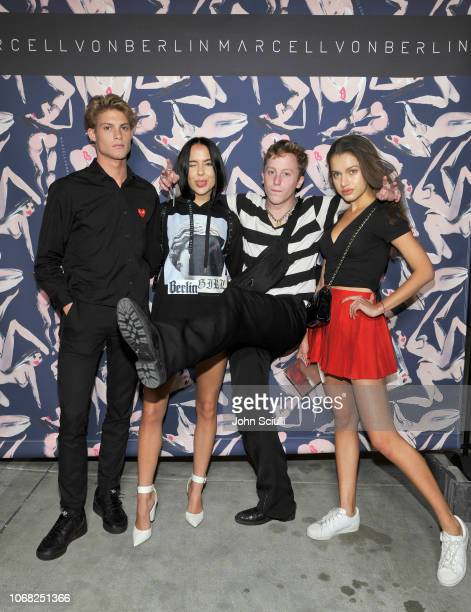 Connor Haddadin Maddy Crum Sam Dameshek and guest attend the MARCELL VON BERLIN LA Store Launch at MARCELL VON BERLIN Flagship Store on November 15...