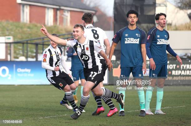 Connor Hall of Chorley celebrates after scoring the opening goal during the FA Cup Third Round match between Chorley and Derby County at Victory Park...