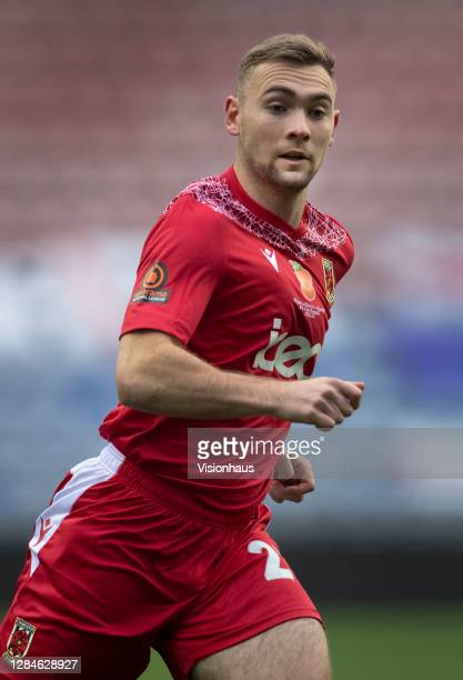 Connor Hall of Chorley FC in action during the FA Cup First Round match between Wigan Athletic and Chorley on November 8, 2020 in Wigan, England....