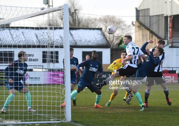 Connor Hall of Chorley FC scores his sides first goal during the FA Cup Third Round match between Chorley and Derby County at Victory Park on January...