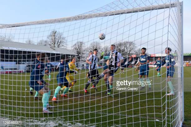 Connor Hall of Chorley FC scores his teams first goal during the FA Cup Third Round match between Chorley and Derby County at Victory Park on January...