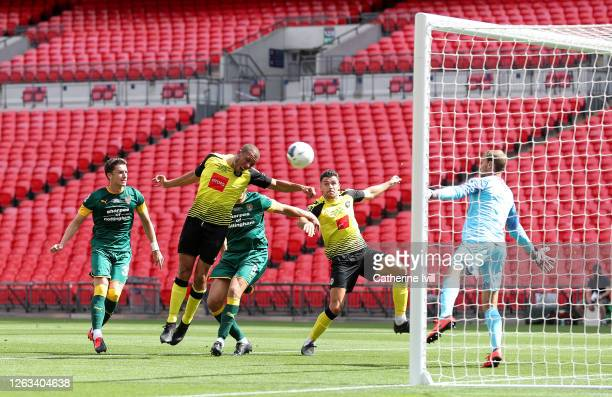 Connor Hall of Harrogate Town scores his sides second goal during the Vanarama National League Play Off Final match between Harrogate Town and Notts...