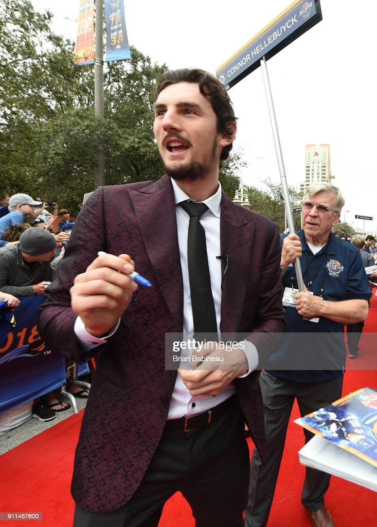Connor Hellebuyck #37 of the Winnipeg Jets walks the red carpet prior to playing in the 2018 Honda NHL All-Star Game at Amalie Arena on January 28, 2018 in Tampa, Florida.