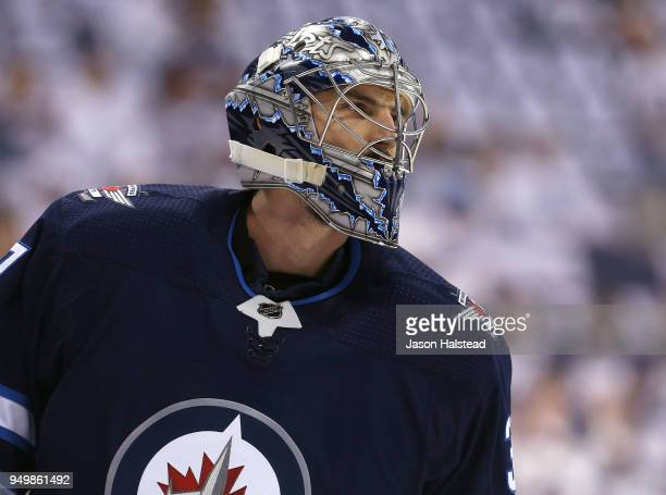 Connor Hellebuyck of the Winnipeg Jets warms up prior to Game Five of the Western Conference First Round during the 2018 NHL Stanley Cup Playoffs...