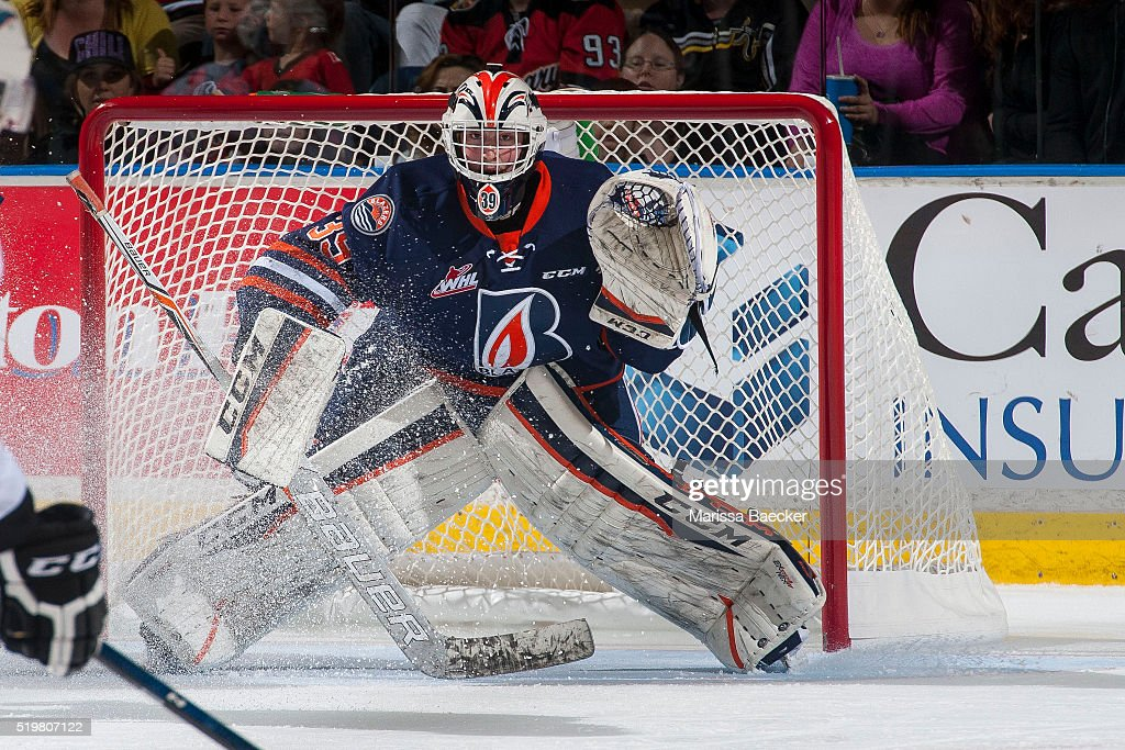 Connor Ingram #39 of Kamloops Blazers defends the net against the Kelowna Rockets on April 1, 2016 at Prospera Place in Kelowna, British Columbia, Canada.
