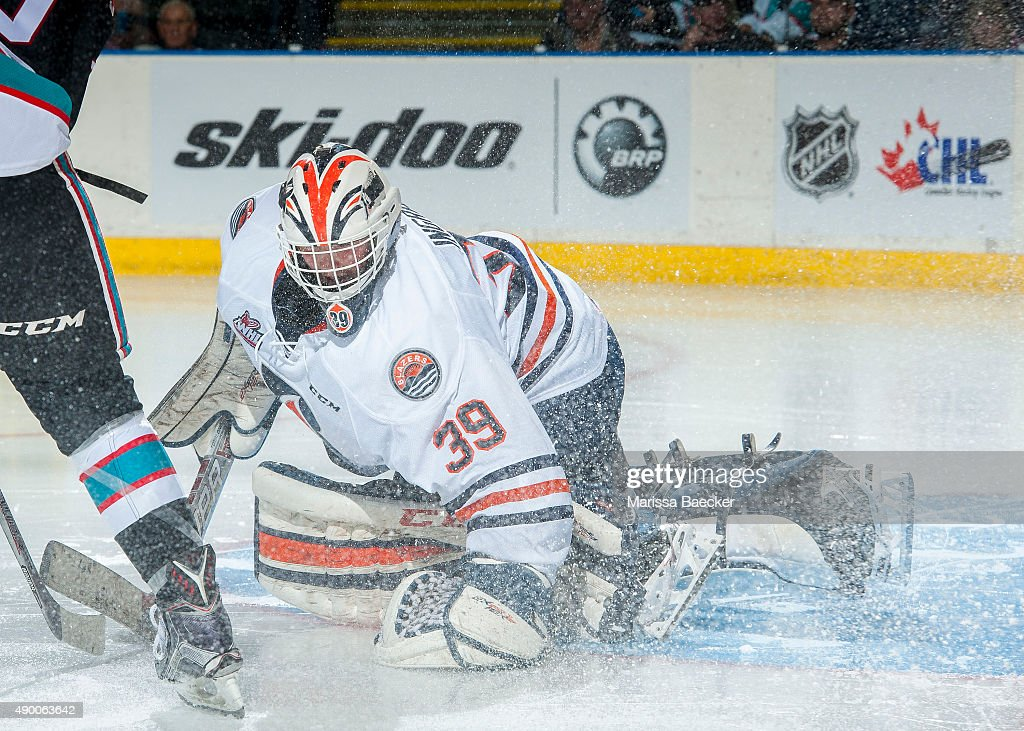 Connor Ingram #39 of Kamloops Blazers makes a save against the Kelowna Rockets on September 25, 2015 at Prospera Place in Kelowna, British Columbia, Canada.