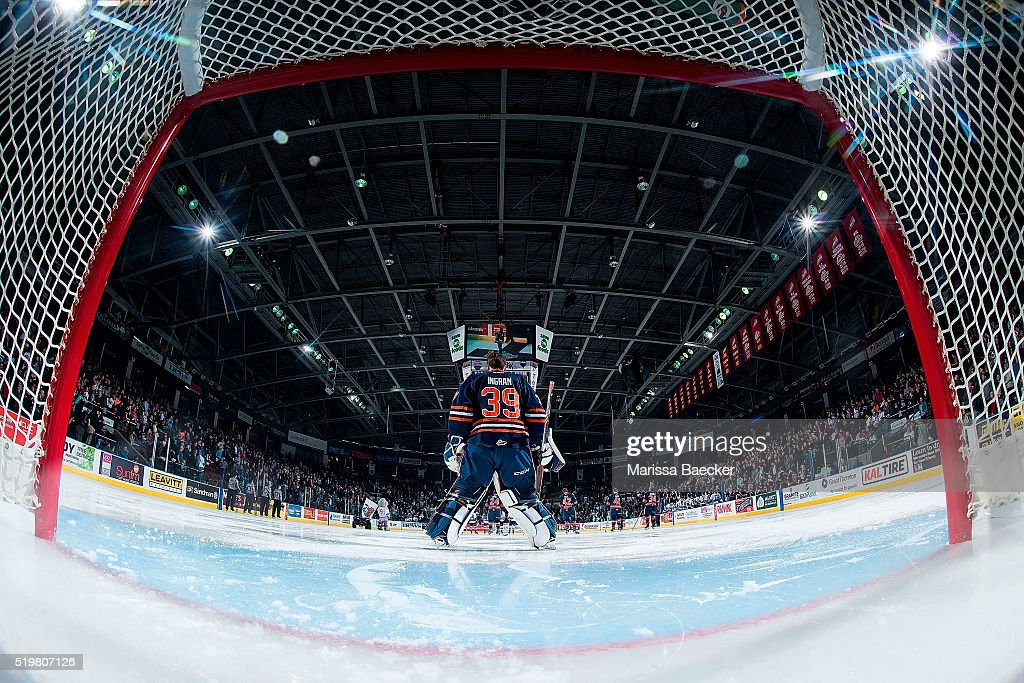Connor Ingram #39 of Kamloops Blazers stands on the ice during the national anthem against the Kelowna Rockets on April 1, 2016 at Prospera Place in Kelowna, British Columbia, Canada.