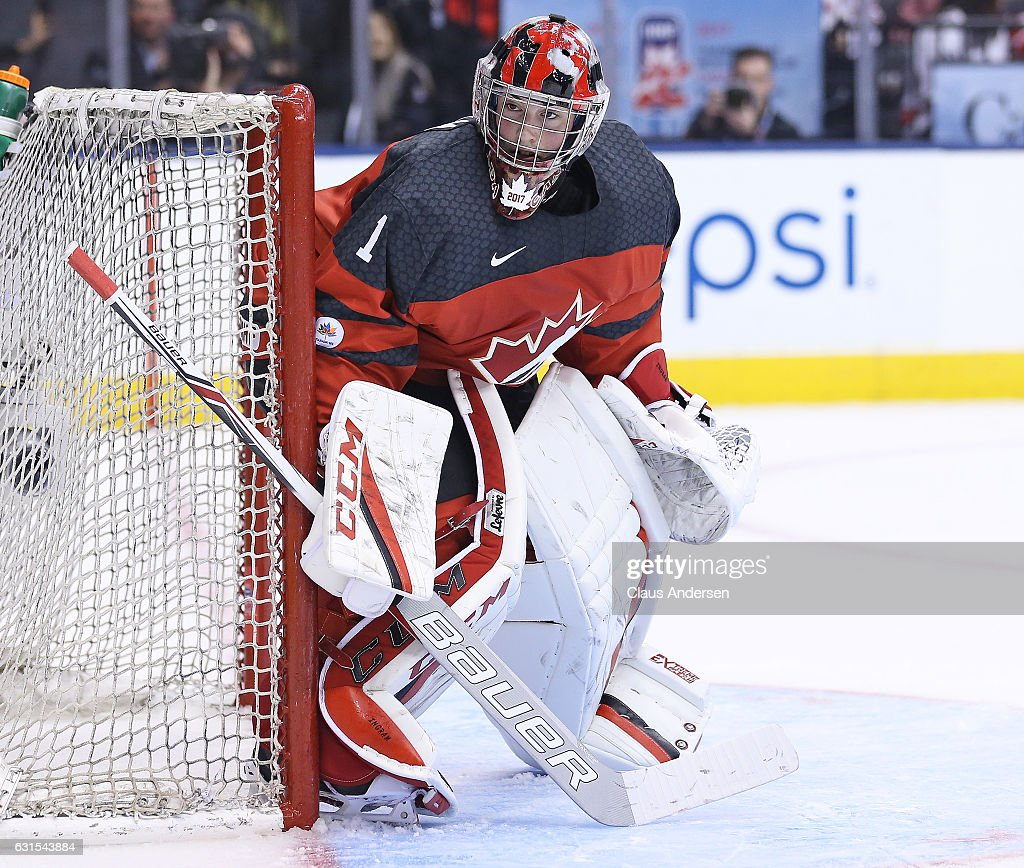 Connor Ingram #1 of Team Canada watches the play against Team USA during a preliminary round game in the 2017 IIHF World Junior Hockey Championship at the Air Canada Centre on December 31, 2016 in Toronto, Ontario, Canada. The USA defeated Canada 3-1.
