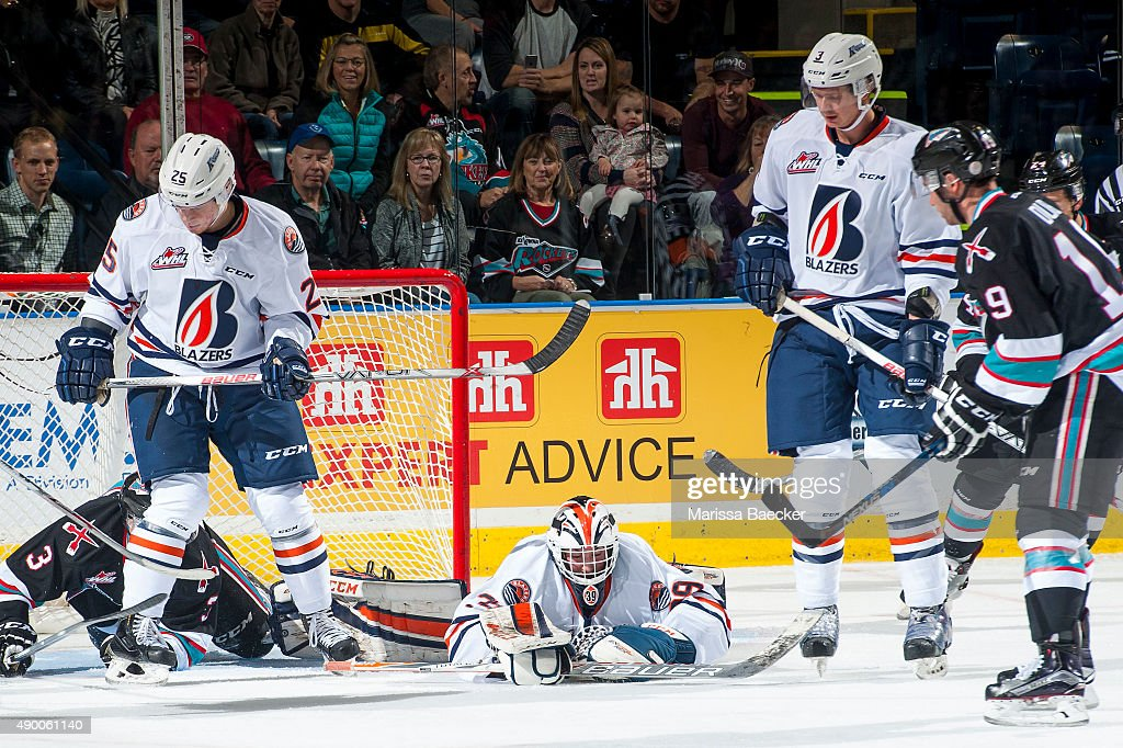 Connor Ingram #39 of the Kamloops Blazers makes a save against the Kelowna Rockets during the first period on September 25, 2015 at Prospera Place in Kelowna, British Columbia, Canada.