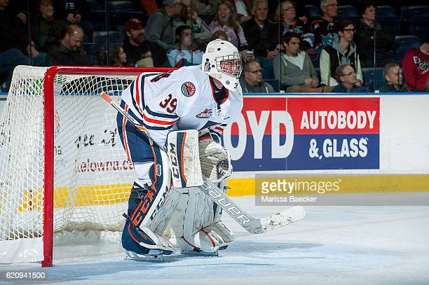 Connor Ingram of the Kamloops Blazers stands in net and looks at the clock against the Kelowna Rockets on November 1 2016 at Prospera Place in...
