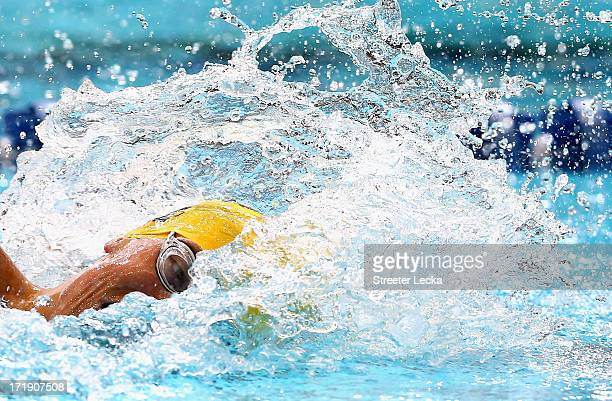 Connor Jaeger competes in the men's 800m freestyle finals on day 5 of the 2013 USA Swimming Phillips 66 National Championships and World Trials at...