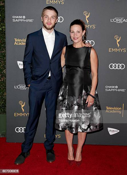 Connor Jessup and Lili Taylor attend the Television Academy reception for Emmy Nominees at Pacific Design Center on September 16 2016 in West...