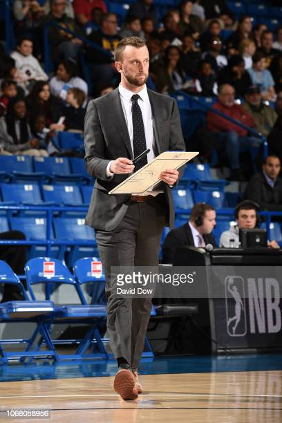Connor Johnson of the Delaware Blue Coats coaches against the Westchester Knicks during an NBA GLeague game at the Bob Carpenter Center in Newark...