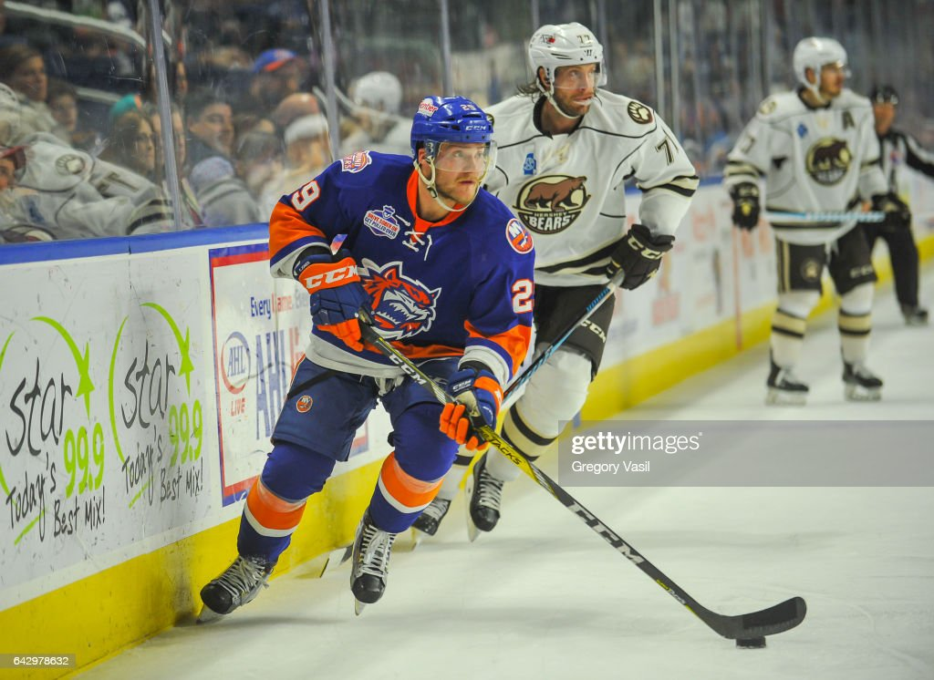 Connor Jones #29 of the Bridgeport Sound Tigers brings the puck up ice during a game against the Hershey Bears at the Webster Bank Arena on February 19, 2017 in Bridgeport, Connecticut.