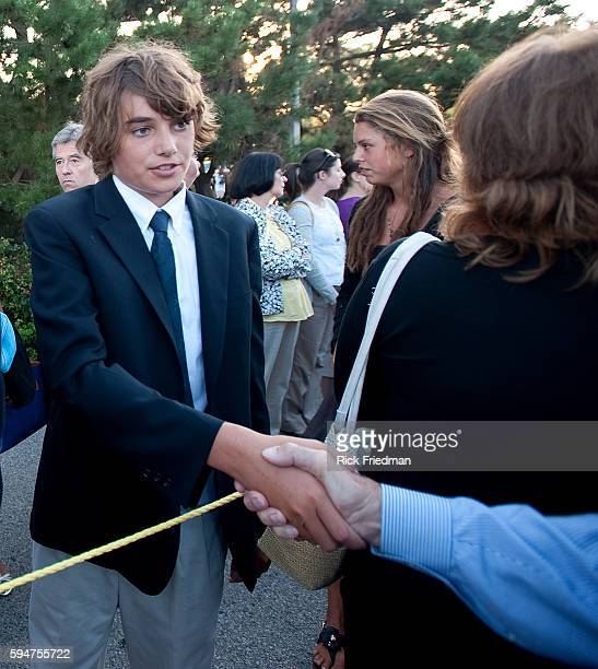 Connor Kennedy age 15 son of Robert Kennedy Jr greeting people waiting in the 3 plus hour line to pay respects to Senator Edward M Kennedy at the...