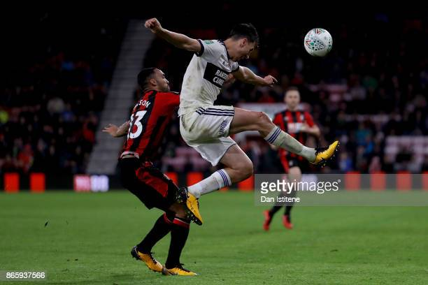 Connor Mahoney of AFC Bournemouth and Daniel Ayala of Middlesbrough during the Carabao Cup Fourth Round match between AFC Bournemouth and...