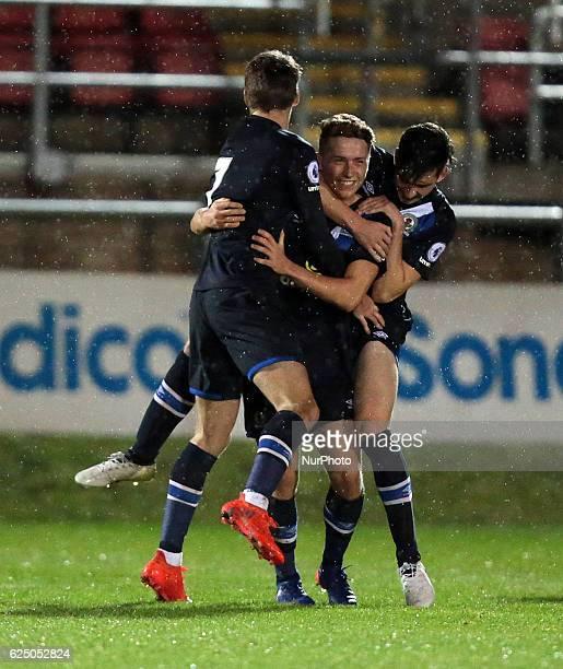 Connor Mahoney of Blackburn Rovers U23s celebrates his goal during Premier League 2 match between West Ham United Under 23s against Blackburn Rovers...