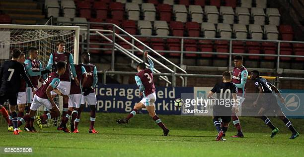 Connor Mahoney of Blackburn Rovers U23s scores his sides equalising goal to make the score 11 during Premier League 2 match between West Ham United...