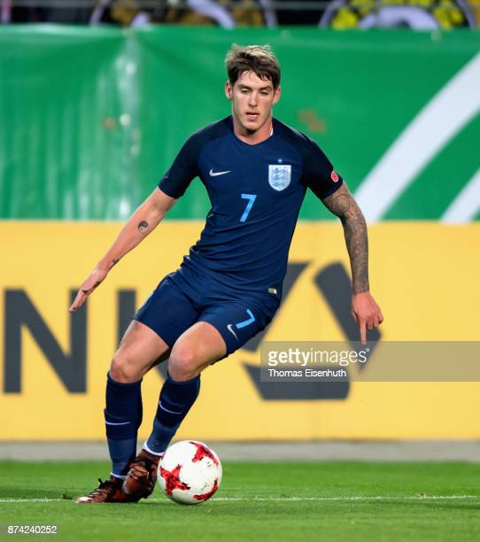 Connor Mahoney of England plays the ball during the Under 20 International Friendly match between U20 of Germany and U20 of England at Stadion...