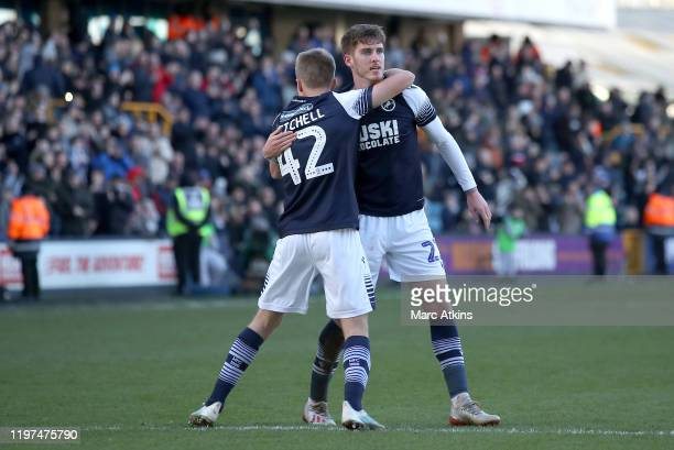 Connor Mahoney of Millwall celebrates with teammate Billy Mitchell after scoring his team's second goal during the FA Cup Third Round match between...