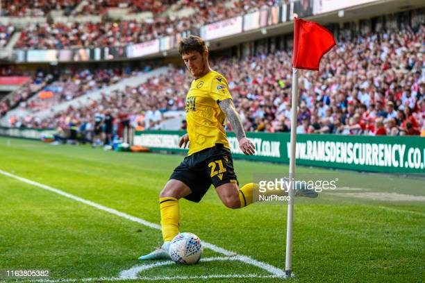 Connor Mahoney of Millwall takes a corner during the Sky Bet Championship match between Middlesbrough and Millwall at the Riverside Stadium,...