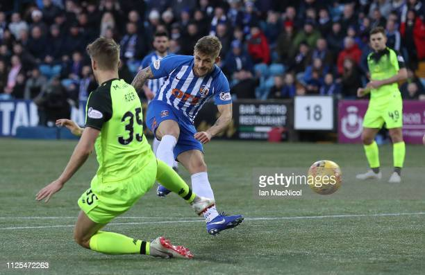 Connor McAleny of Kilmarnock scores only to see it disallowed during he Scottish Ladbrokes Premiership match between Kilmarnock and Celtic at Rugby...
