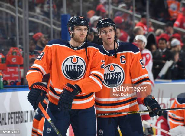 Connor McDavid and Leon Draisaitl of the Edmonton Oilers warm up prior to the game against the Detroit Red Wings on November 5 2017 at Rogers Place...