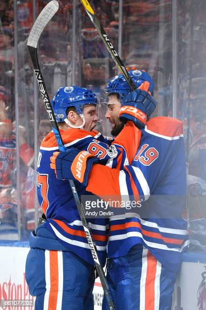 Connor McDavid and Patrick Maroon of the Edmonton Oilers celebrate after a goal during the game against the San Jose Sharks on March 30 2017 at...
