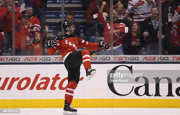 TORONTO ON JANUARY 2 Connor McDavid celebrates a goal as Team Canada plays Team Denmark in the quarter final round of the IIHF World Junior Hockey...
