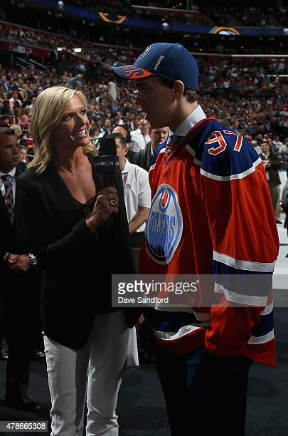 Connor McDavid is interviewed by Kathryn Tappan after being selected first overall by the Edmonton Oilers during Round One of the 2015 NHL Draft at...