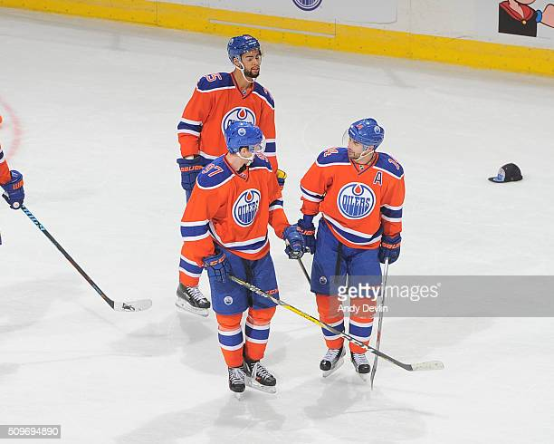 Connor McDavid Jordan Eberle and Darnell Nurse of the Edmonton Oilers celebrate after a goal during the game against the Toronto Maple Leafs on...
