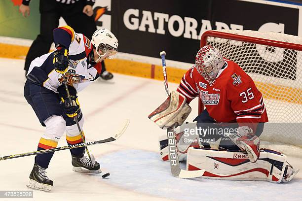 OSHAWA ON MAY 15 Connor McDavid loses control of the puck in front of Kenny Appleby as the Oshawa Generals play the Erie Otters in what may be Connor...