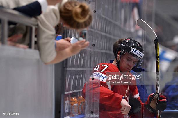 Connor McDavid of Canada sits in the penalty box during IIHF ice hockey world championship Group B preliminary round game between Canada and Finland...