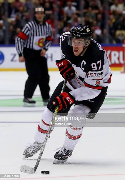 Connor McDavid of Canada skates against the United States during the 2018 IIHF Ice Hockey World Championship group stage game between United States...