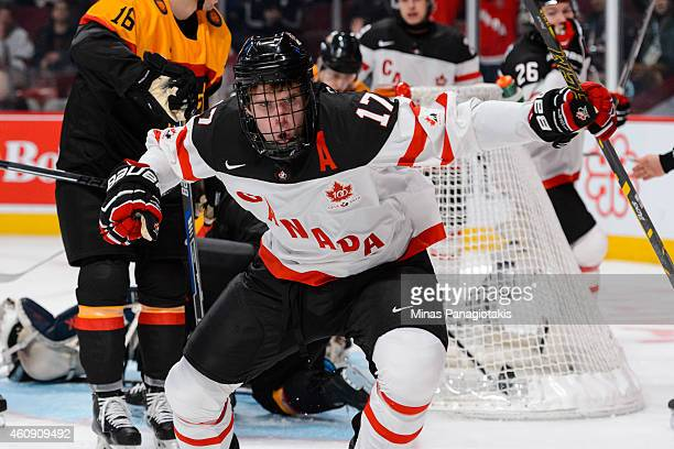 Connor McDavid of Team Canada celebrates his goal during the 2015 IIHF World Junior Hockey Championship game against Team Germany at the Bell Centre...