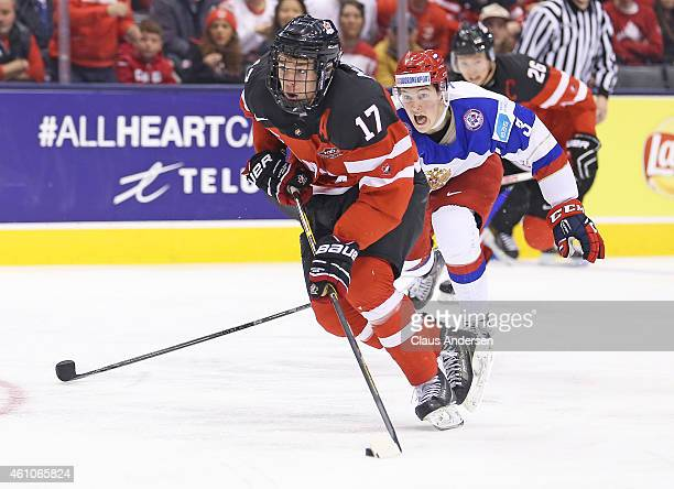 Connor McDavid of Team Canada skates in on a break away goal against Team Russia during the Gold medal game in the 2015 IIHF World Junior Hockey...
