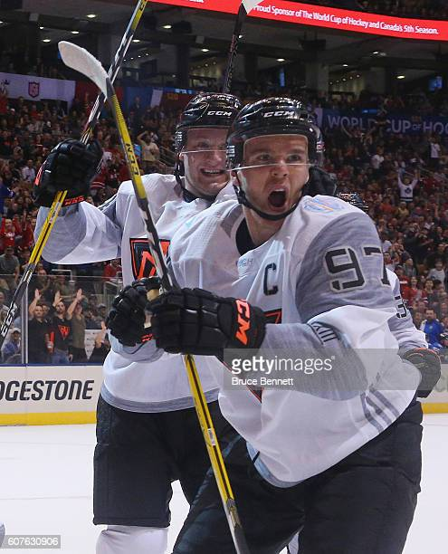 Connor McDavid of Team North America celebrates in the first period but the goal was disallowed against Team Finland during the World Cup of Hockey...