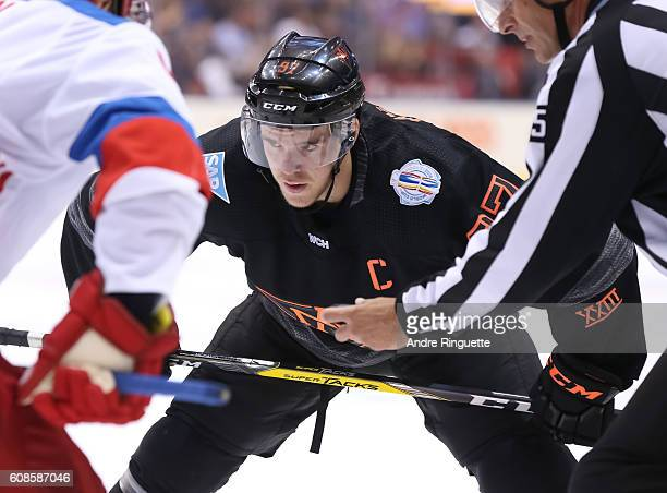 Connor McDavid of Team North America prepares for a faceoff against Team Russia during the World Cup of Hockey 2016 at Air Canada Centre on September...