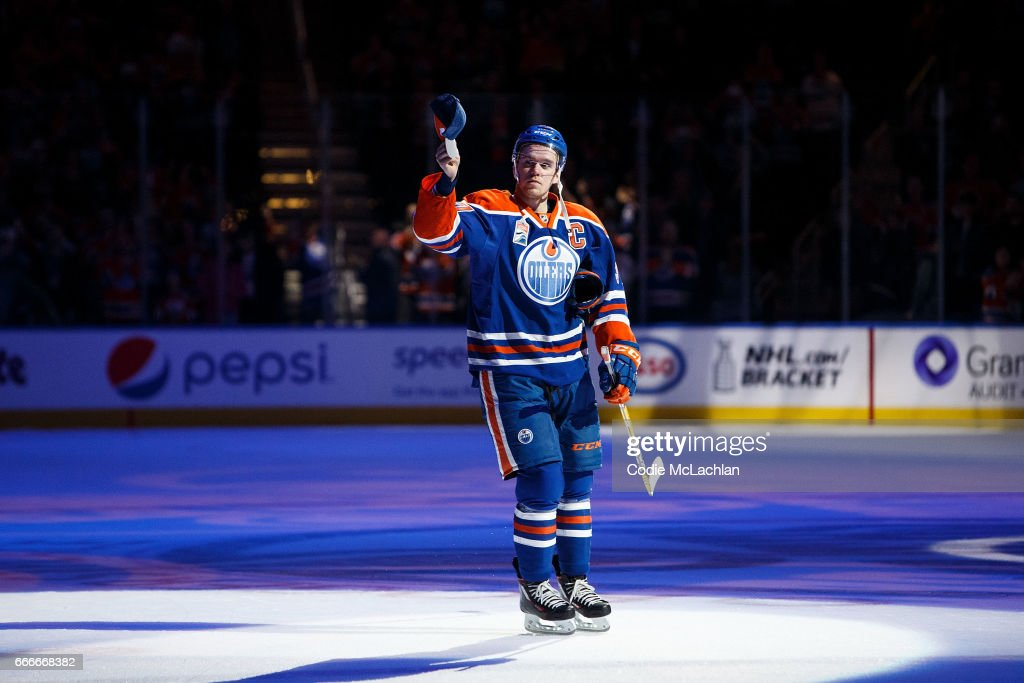 Connor McDavid #97 of the Edmonton Oilers acknowledges the crowd after being named second star of the game against the Vancouver Canucks on April 9, 2017 at Rogers Place in Edmonton, Alberta, Canada. The Oilers won 5-2.