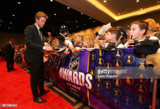 Connor McDavid of the Edmonton Oilers arrives at the 2018 NHL Awards presented by Hulu at the Hard Rock Hotel Casino on June 20 2018 in Las Vegas...