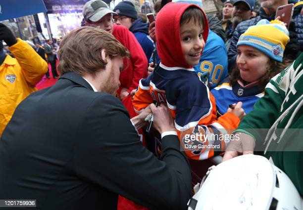 Connor McDavid of the Edmonton Oilers arrives for the 2020 NHL AllStar Skills Competition at Enterprise Center on January 24 2020 in St Louis Missouri