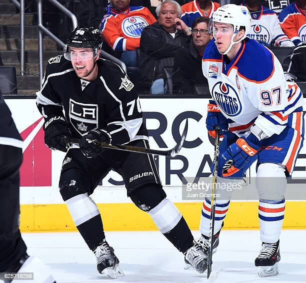 Connor McDavid of the Edmonton Oilers battles for position against Tanner Pearson of the Los Angeles Kings during the game on November 17 2016 at...