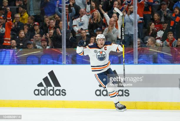 Connor McDavid of the Edmonton Oilers celebrates a first period goal against the New Jersey Devils at Scandinavium on October 6 2018 in Gothenburg...