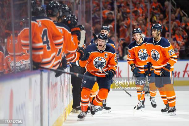 Connor McDavid of the Edmonton Oilers celebrates a goal against the Vancouver Canucks during the third period at Rogers Place on October 2 in...