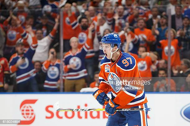 Connor McDavid of the Edmonton Oilers celebrates a goal against the Calgary Flames on October 12 2016 at Rogers Place in Edmonton Alberta Canada