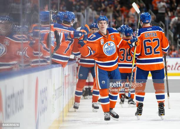 Connor McDavid of the Edmonton Oilers celebrates a goal against the Detroit Red Wings on March 4 2017 at Rogers Place in Edmonton Alberta Canada