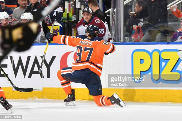 Connor McDavid of the Edmonton Oilers celebrates after a goal during the game against the Colorado Avalanche on November 14 at Rogers Place in...