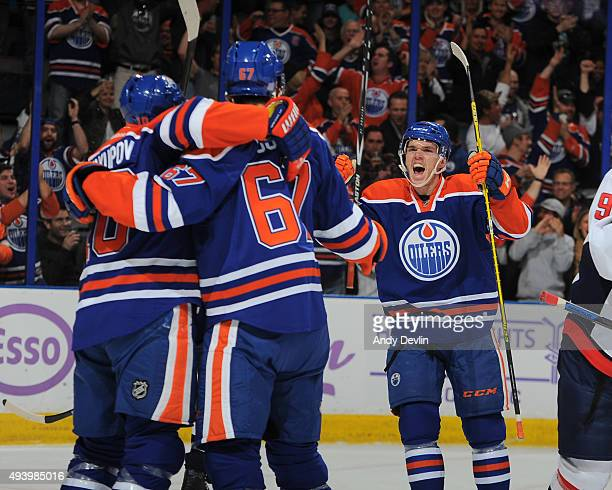 Connor McDavid of the Edmonton Oilers celebrates after a goal during a game against the Washington Capitals on October 23 2015 at Rexall Place in...