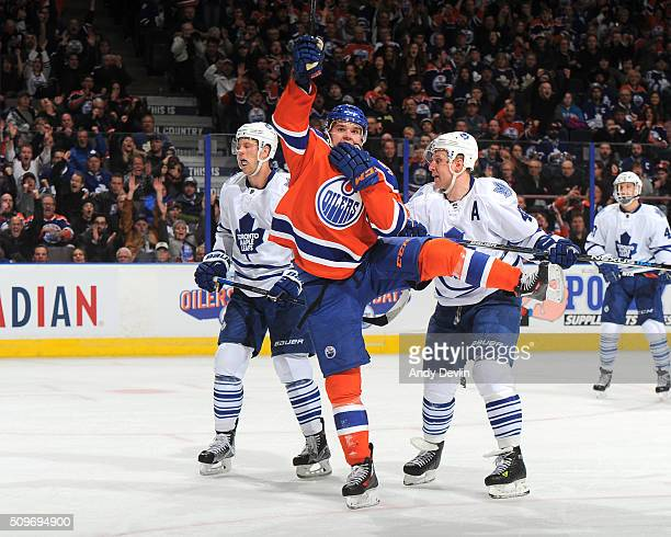 Connor McDavid of the Edmonton Oilers celebrates after a goal during a game against the Toronto Maple Leafs on February 11 2016 at Rexall Place in...